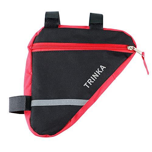 Aiqeer Borsa Triangolare Bicicletta, Borsa Triangolo Telaio Anteriore Bici, Borsa Triangolare Impermeabile Nylon, con Striscia Riflettente (Rosso)