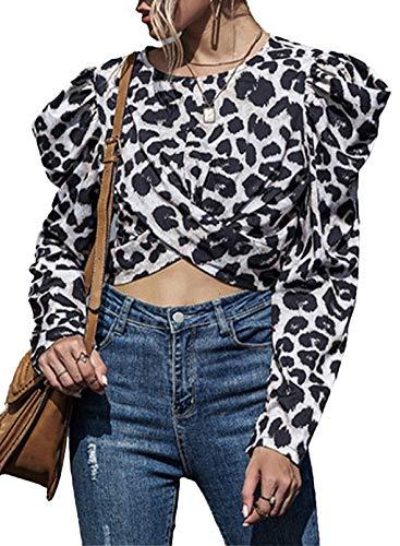 CORAFRITZ Blusa con estampado de moda para mujer, cuello redondo, manga larga abullonada y dobladillo cruzado