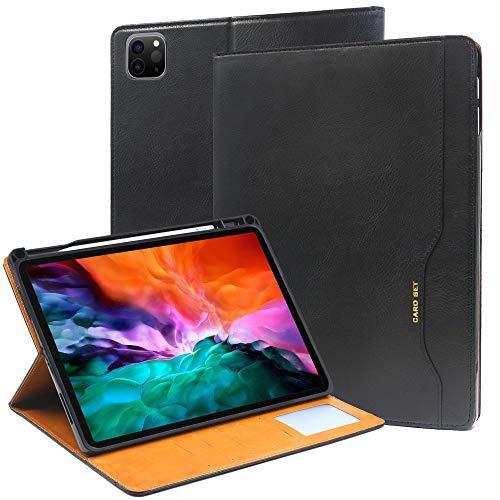 iPad Pro 12.9 Case 2020 with Pencil Holder, KUAO Slim iPad Pro 12.9'' Leather Case with Card Holder Kickstand Protective Folio Flip Case Cover Compatible iPad Pro 12.9Inch 2018 and 2020, Black