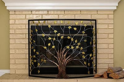 Barton Curved Iron Fireplace Tree of Life Rustic Fireplace Screen Metal Single Panel Decorative Free Standing from Barton