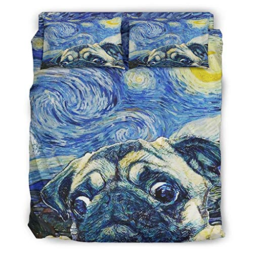 STELULI Juego de cama de 4 piezas, diseño de perro carlino y la noche estrellada con estampado transpirable – fundas de cama blancas 240 x 264 cm
