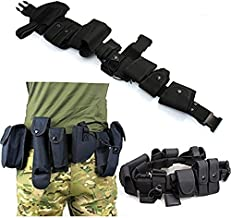 FIRECLUB 10 Pieces Parts All in One Set Military Tactical Waist Belt Equipment Gun Holster Flashlight Police Security Guard SWAT Utility Kit Law Enforcement Modular Design Waterproof Nylon Black