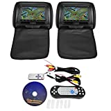 Car Headrest Monitor, Qiilu 2x7 Inch Pair Car Headrest Player Auto DVD Player Game HD Digital Screen with Digital Remote Control,Supports USB/ SD/ IR/ FM/ GAME