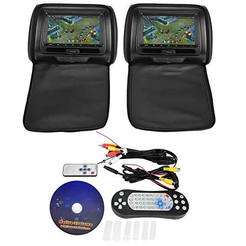 Qiilu Auto kopfstützenhalterung DVD-Player-Kopfstütze 7Inch mit Fernbedienung (Schwarz)