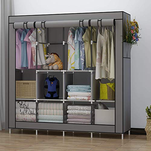 UDEAR Portable Closet Large Wardrobe Closet Clothes Organizer with 6 Storage Shelves, 4 Hanging Sections 4 Side Pockets,Grey