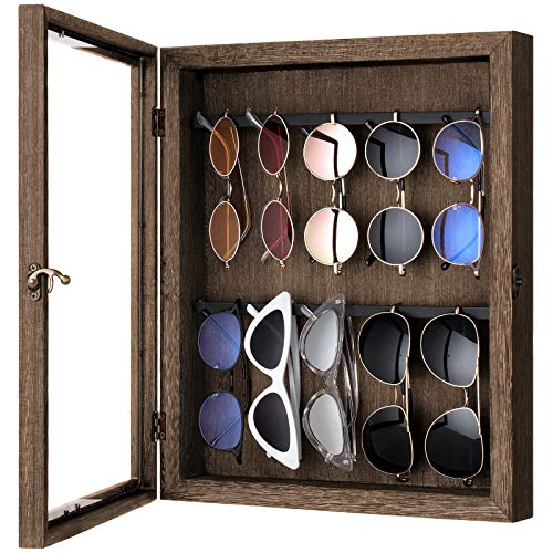 Mkono Sunglasses Organizer Storage Wall Mounted Eyeglasses Display Holder Box Rustic Wood Hanging Dust Proof Glasses Organizer Wall Eyewear Case for Closet Bedroom Entryway, Brown