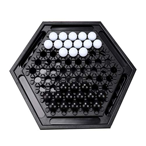NUOBESTY Abalone Marmor Strategiespiel Solitaire Brettspiel Desktop Schach Kampfspiele Familienspiele für Erwachsene Kinder