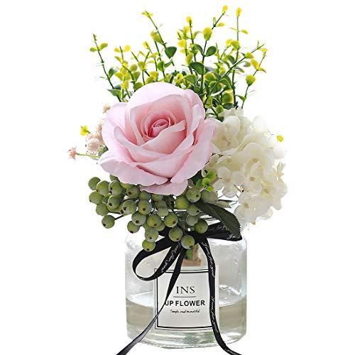 Flores de imitación en jarrón, plantas artificiales y flores de imitación blanca ramo de rosas de flores de cristal arreglos para la decoración del hogar de la oficina (rosa)