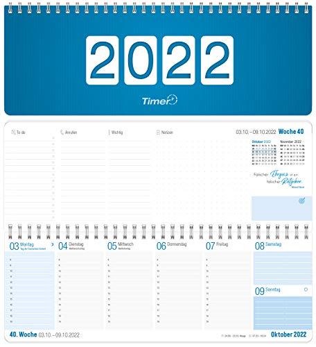 Wochen-Tischkalender 2022 im Quer-Format | 1 Woche 2 Seiten | Wochenkalender in Königsblau/Weiß, 29,7 x 10,5 cm | Schreibtisch-Kalender mit Sprüchen | nachhaltig & klimaneutral
