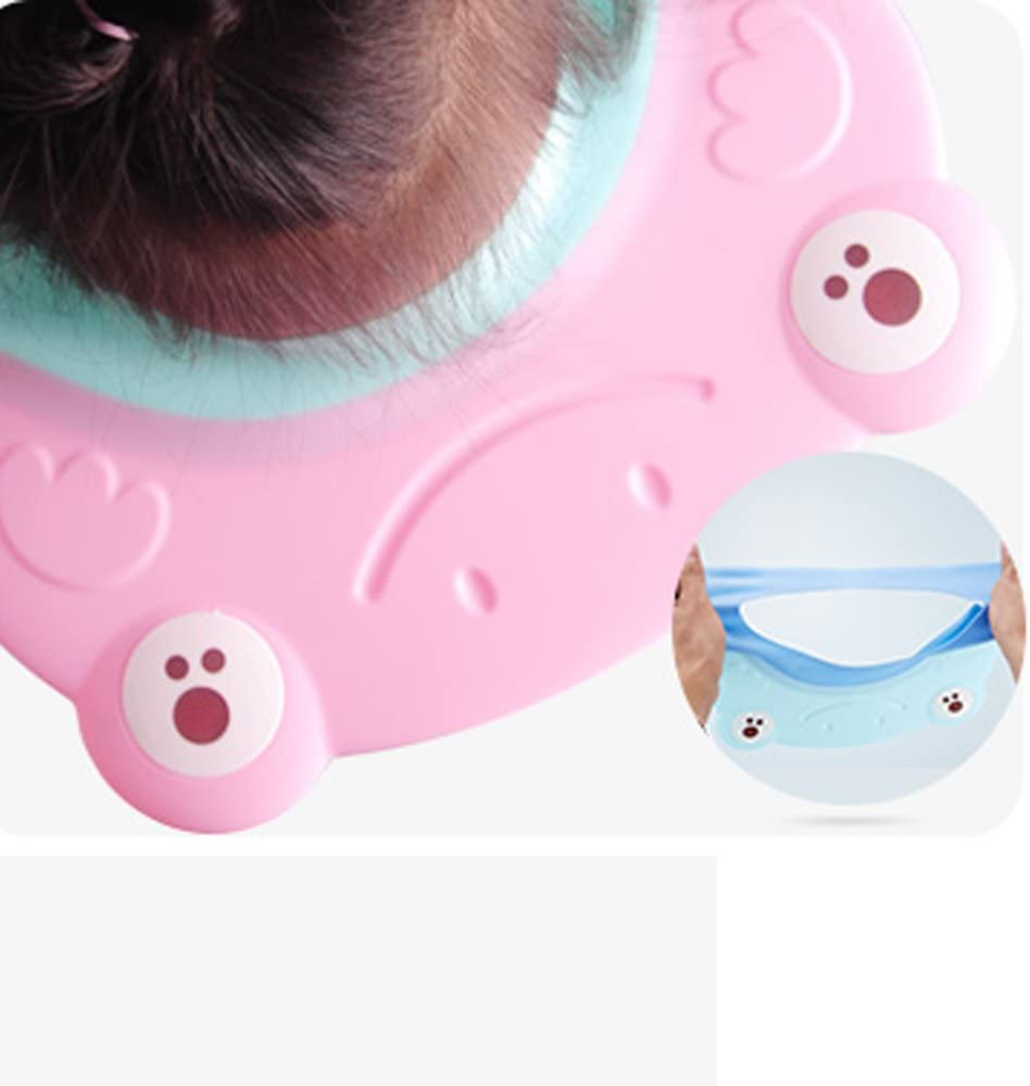 TAMUME Pink Adjustable Baby Shampoo Eye Shield, Silicone Hair Washing Cap and Shower Hat to Protect Baby Eyes, Kid Shower Hat, Soft Touch for Bathing (Pink)