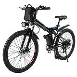 AMDirect Bicicletta da Montagna Elettrica Pieghevole con Ruote di 26 Pollici Batteria Litio di Grande Capacità 36V 250W Sospensione Completa Premium e Cambio Shimano (Nero)