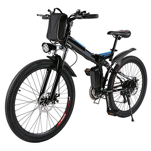 AMDirect Bicicleta de Montaña Eléctrica Bici Plegable Ebike con Rued