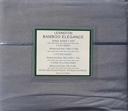 Lexington Bamboo Elegance 2200 Series 18 inch Deep Pockets 6 PC Bed Sheet Sets ECO Friendly - Hypoallergenic and Wrinkle Free (Light Grey, Queen)