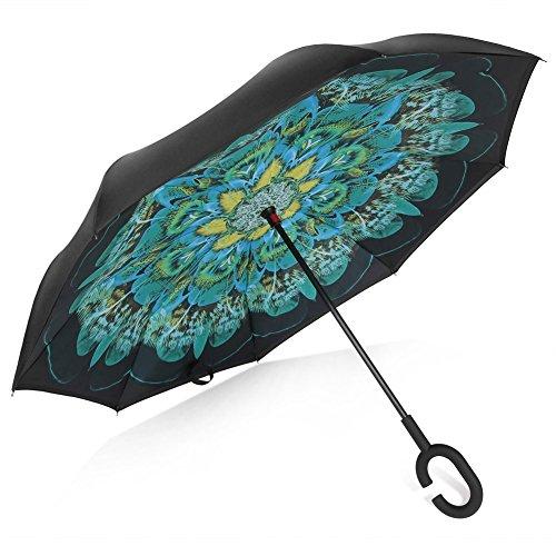 TRADE® Inverted Regenschirm Doppelt Schicht Pfau Federn Selbständigkeit freihändig Anti-Wind Anti-UV Reverse Folding Regenschirme mit Anti Rutsch C-Form Griff für Auto Gebrauch