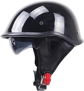 SDKUing Casques Jet Cuir PU Casques Unisexe 3//4 Moto Casque ECE Homologu/é Casques Harley Vintage /à Face Ouverte avec Sangle /à d/égagement Rapide pour Lunettes de Protection