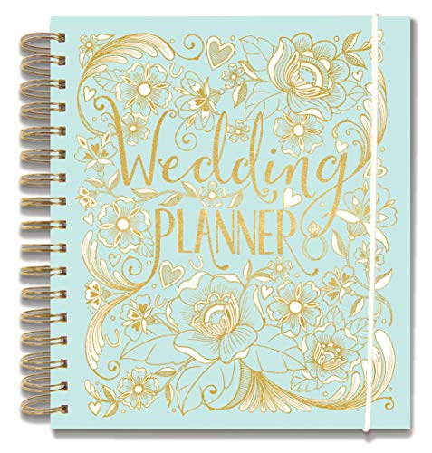 "Rachel Ellen Designs Hard Cover 9"" Wedding Planner & Organizer  Checklists  Gold Foil Details  Journal Notebook"