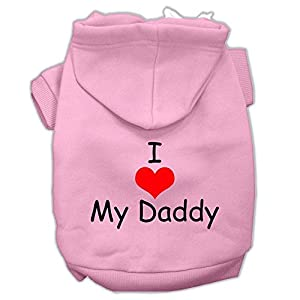 Mirage Pet Products I Love My Daddy Screen Print Pet Hoodies, Pink, X-Small