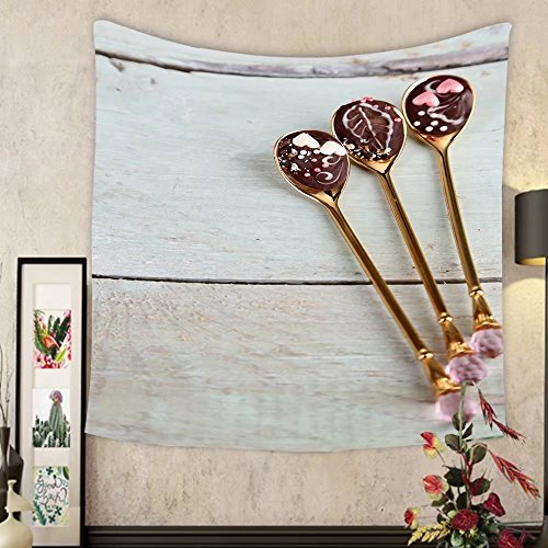 Grace Little Custom tapestry spoons with tasty chocolate for party on old wooden table