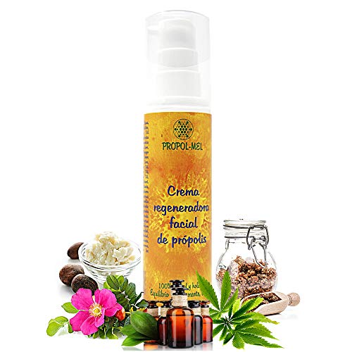 Crema facial natural - 50 ml - Certificado BIO. Crema antimanchas, hidratante facial y reafirmante mujer/hombre con propoleo, karite, rosa mosqueta, jojoba y aceites esenciales.