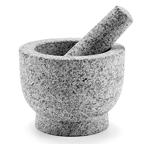 COZ Granite Mortar and Pestle Set for Guacamole Spice Herbs Salads 6 Inch  2 Cup Capacity  Large Heavy Duty Unpolished Granite Molcajete Grinder Non Porous Dishwasher Safe