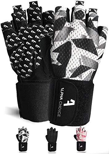 Alphachoice Performance Fitness Handschuhe Damen und Herren mit Handgelenkschutz - Trainingshandschuhe für Krafttraining, Bodybuilding, Gewichtheben (L, Camouflage)