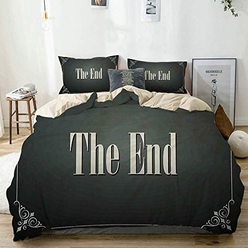 Duvet Cover Set Beige,The End Quote with Swirled Frame on an Abstract Ombre Background,Decorative 3 Piece Bedding Set with 2 Pillow Shams Easy Care Anti-Allergic Soft Smooth