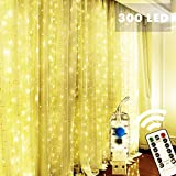 StarryMine Window Curtain Lights, 8 Modes 300 LEDs USB Plug in Twinkle Fairy LED Copper Wire String Lights for Indoor Outdoor DIY Party Garden Home Festival Holiday Decorations, Warm White