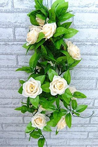 TECH-FUN Fleur de Rose Rotin, Décoratif de Rotin, Fausses Fleur de Vigne en Intérieur ou en Plastique, Couleur crème., 1