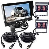 Rückfahrkamera für Wohnmobil/Bus/Anhänger, 4-polig, 12V-24V 7 Inch TFT-LCD-HD-Monitor mit Sonnenschutzhalterung + 2 x 18 LEDs IR Nachtsicht, wasserdichte Rückfahrkamera für Wohnmobil/Bus/LKW