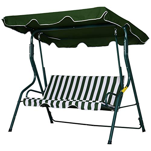 Outsunny 3 Seater Canopy Swing Chair Outdoor Garden Bench with Sun Cover Metal Frame - Green Stripes