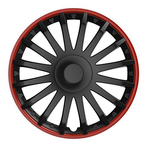 CM DESIGN 14 Zoll Radzierblenden Crystal RO (Schwarz mit rotem Rand). Radkappen passend für Fast alle VW Volkswagen wie z.B. Polo 9N!