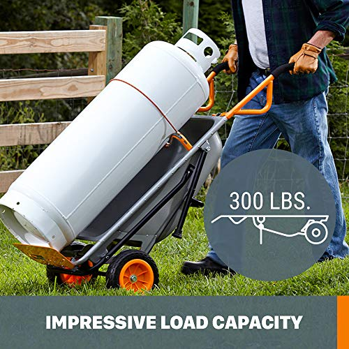 WORX WG050 Aerocart 8-in-1 2-Wheel Wheelbarrow/Garden Cart/Dolly, Orange, Black, and Silver, 18