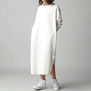 SMEJS Donna Autunno Pocket Felpa Vestito Lady Casual Laterale Laterale Forchetta Irregolare Nevo Collo Rotondo Maniche Lun...