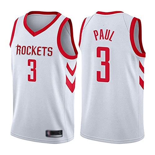 Wo nice Jerseys De Baloncesto De Los Hombres, Houston Rockets # 3 Chris Paul Uniformes De Baloncesto De Verano De La NBA Casual Camisetas Sueltas Camisetas Transpirables,Blanco,L(175~180CM)