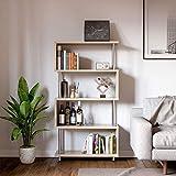 Bestier 5 Shelf Geometric Bookcase S-Shaped, Hollow-Core Board...