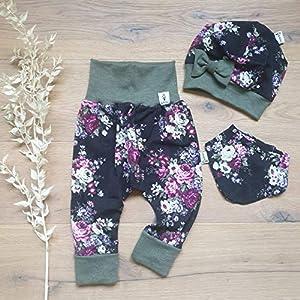 ANGEBOT Set – Hose, Schleifenmütze, Halstuch – große Rosen Schwarz Bordeaux (Khaki Melange) Baby Mädchen