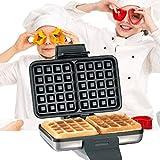 FZYE Plancha para Hacer gofres Doble de Dos rebanadas, máquina para Hacer gofres Cuadrados 1000W, máquina para el Desayuno en el hogar, máquina para Hornear Muffins de Doble Cara, Plato