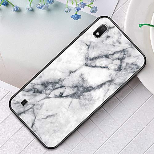 MoreChioce Kompatibel mit Samsung Galaxy A10 Hülle Marmor Glas Handyhülle Dünn Bling Glitzer Silikon Schutzhülle Anti-Fingerprint Handytasche Skin Hard Case Slim Stoßfest Bumper,Weiß Marmor