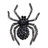 SELOVO Spider Black Crystal Rhinestone Brooch Pin Antique Silver Tone...