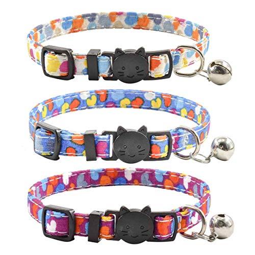 XPangle Katzenhalsbänder mit Glöckchen, 3er-Set, langlebig und sicher, süßes Kätzchen-Halsband, Sicherheit, verstellbar, für Katzen, Welpen, 19,1 - 27,9 cm, 7.5-11in, herz