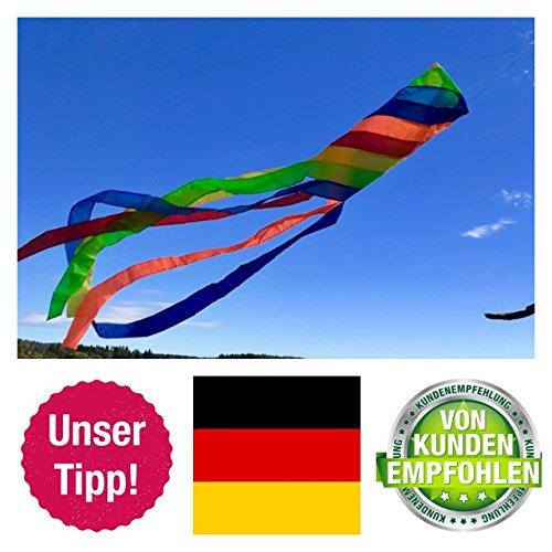 molinoRC Wunderschöner Windsack | Rainbow leuchtende Farben | D 15cm | L 130cm | wetterbeständig Windsocke | Windspiel | Wetterfahne | stabile Aufhängung | Regenbogen | 📦 | 🇩🇪 | ✅ | 😊 |🥇
