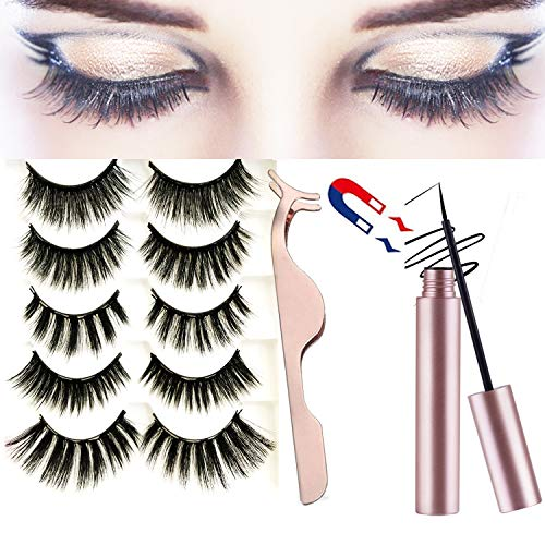 3D faux Mink Magnetic False Eyelashes 5 Pairs Waterproof Magnetic Eyelashes and Magnetic Eyeliner Kit false lashes with No Glue Reusable fake Eyelashes for Natural Look
