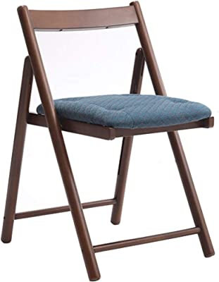 Folding Chairs Portable Chair, Rubber Wood Creative Dining Chair, Home Backrest Folding Chair, Simple Portable Leisure Chair, Can Bear 130kg (Color : Blue, Size : 42 * 53 * 70CM)