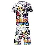 Naruto T-Shirts + Pantalones Cortos Set Casuales Impresión Digital 3D Camiseta Top y Pantalones Cortos Dos Piezas De Verano Uchiha Sharingan Hokage Ninja para Amantes del Anime Jogging