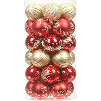 red gold ornament set