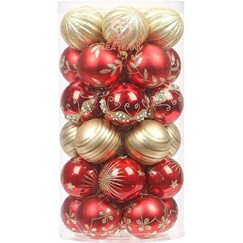 """Sea Team Set Palla di Natale 60mm/2.36"""" Ornamento Raffinato Adattano a Tema di Colore a Contrasto con Pittura & Albero Natale Scintillante—30pcs"""