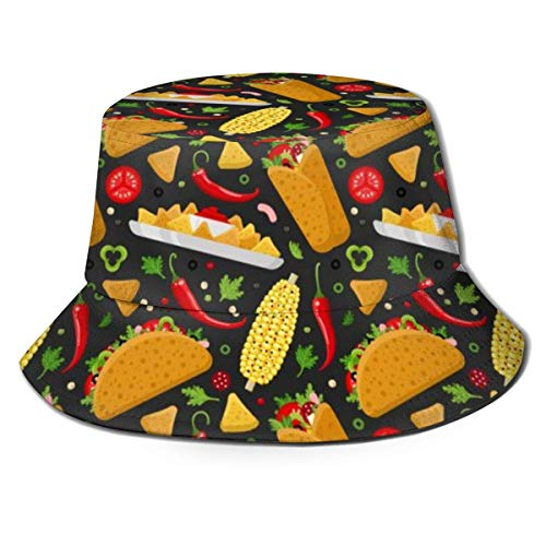 GodYo Mexikanischer Burrito Taco und Nachos Eimer Hut Sommer UV Sonne Fischer Mütze Unisex für Travel Beach Outdoor