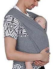 Écharpe de Portage, Lictin l'Echarpe Portage Fait de Elastique, Écharpe Multifonctionnel pour les Nouveau-nés et Bébés Jusqu'à 15 kg, Echarpe de Portage bebe (gris)