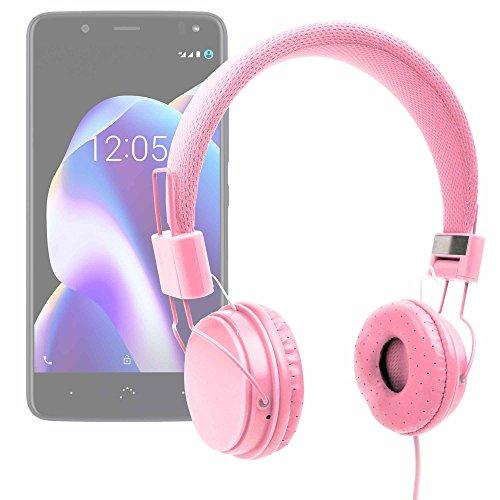 DURAGADGET Auriculares De Diadema Color Rosa para Smartphone BQ Aquaris U2 (y Lite) | Aquaris U2 | Aquaris V (y Plus) Combinar con Su Móvil!