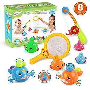 VCOSTORE Juguetes de baño para bebés, 8 Piezas de Juguetes flotantes de Pesca y Juguetes de baño de Cuerda, Juguetes de Pesca sin Moho para niños pequeños